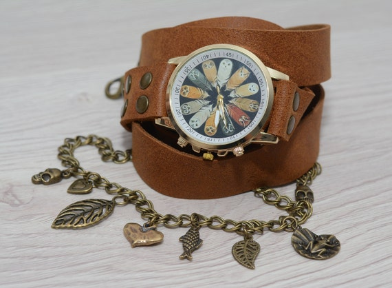 UhrDamen Für LederwickelarmbandUhr Wrap FrauenWomans FrauUmschlingen Boho Leder SchmuckWarp PXiukZOT
