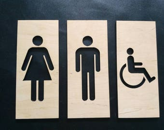 plywood wc sign restroom for men and women signs for toilet etsy