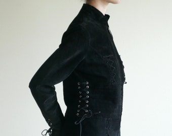 Black Suede Corset Waist Jacket