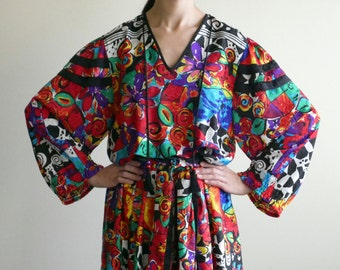 DIANE FREIS carwash pleats dress with matting scarf / psychedelic dress / 80s / l