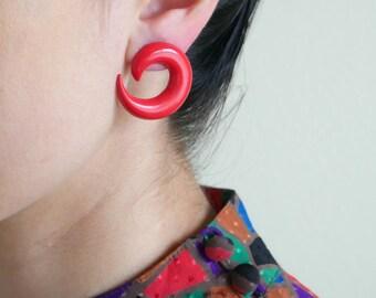 red curl plastic earrings