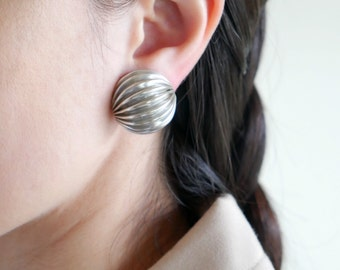 Silver Round Accordion Earrings