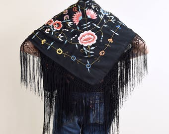 1970s vintage black embroidered piano shawl