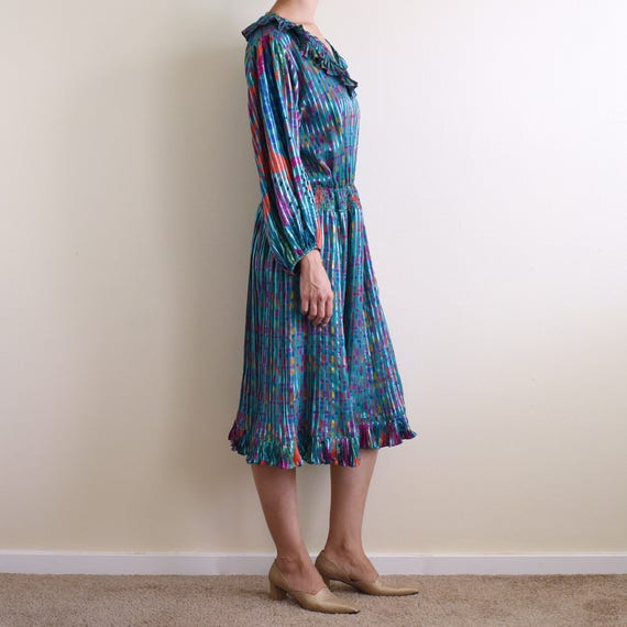 vintage psychedelic print ruffle pleats dress / s - image 2