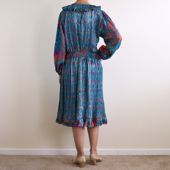vintage psychedelic print ruffle pleats dress / s - image 3
