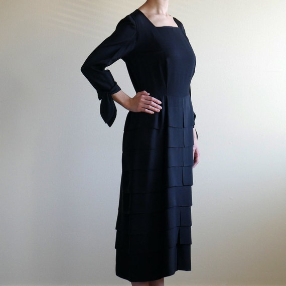 Black Square Neck Tiered Skirt Dress