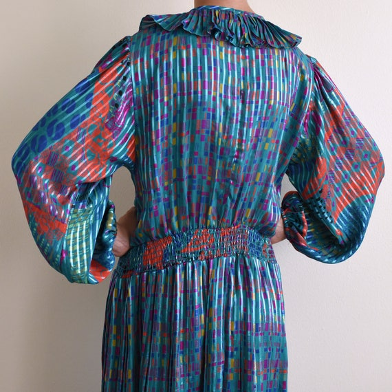vintage psychedelic print ruffle pleats dress / s - image 4