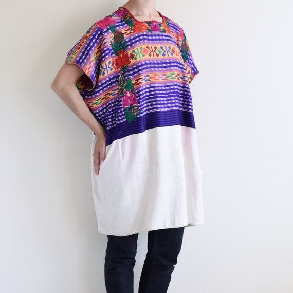 Embroidered Poncho /  Heavy spun cotton top / Mexi