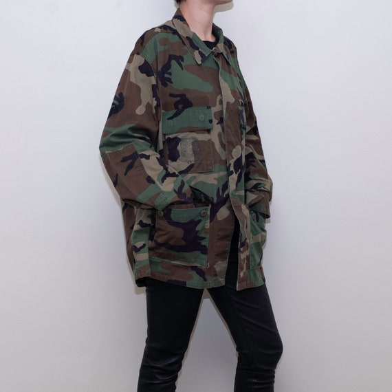 Vintage camouflage military shirt jacket / Men's m