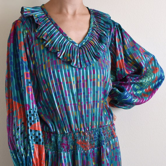vintage psychedelic print ruffle pleats dress / s - image 5