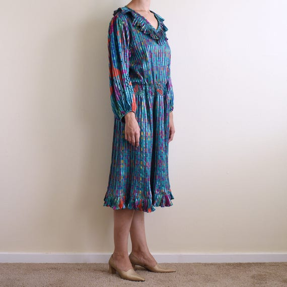 vintage psychedelic print ruffle pleats dress / s - image 1