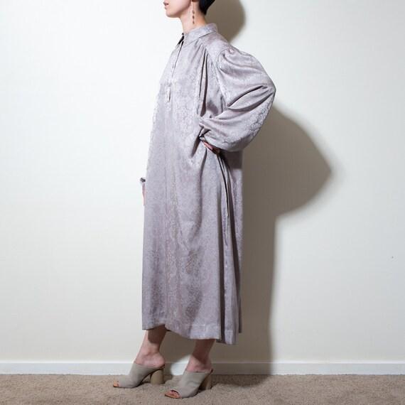 Grey beige spangle jacquard shirt dress with match