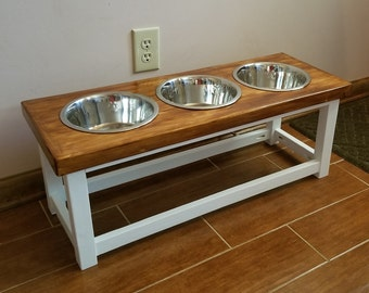Elevated dog feeder with 3 bowls. Large size dog feeding station. Dog bowl stand. Triple dog feeder. Raised dog bowl table 3 bowl dog feeder