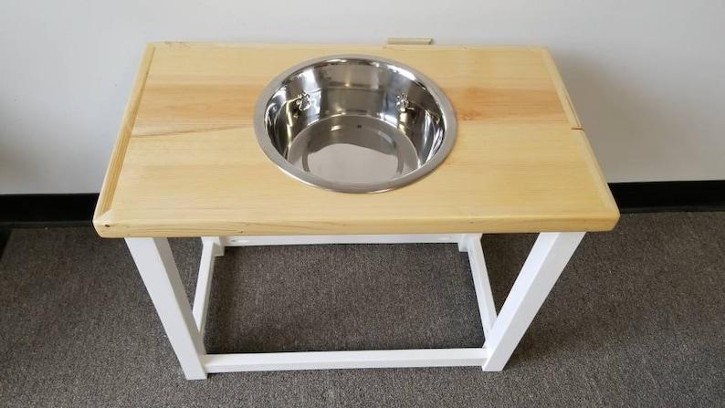 Pet food bowl stand. Elevated dog feeding table for Medium Single bowl feeding station Large or Extra Large dog Great Dane bowl stand