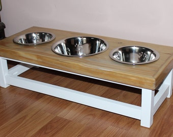 Farmhouse style elevated dog feeder with 3 bowls. Medium size dog feeding station. Combo dog bowl stand with 2 medium and 1 large bowls.
