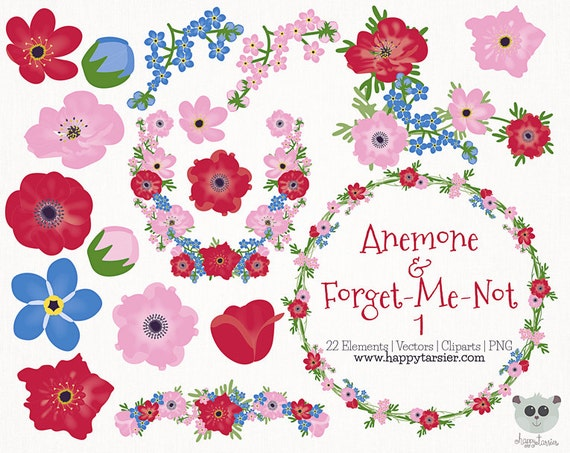 Pink Forget Me Not Flowers Clip Art