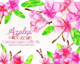 Watercolor Flower Clipart, Floral, Flora, Clip Art, Watercolour, Wedding, Azalea, Flowers, Buds, Leaves, Stems, Pink, Red, F026