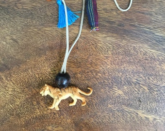 Tiger Pendant on Leather Necklace