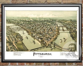 Pittsburgh map | Etsy