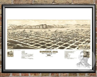 24x36 Vintage Reproduction Historic Map Canon City Colorado 1882 Fremont