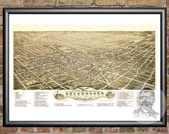 Greensboro,North Carolina Art Print From 1891 - Digitally Restored Old Greensboro,NC Map Poster - Perfect For Fans Of North Carolina History