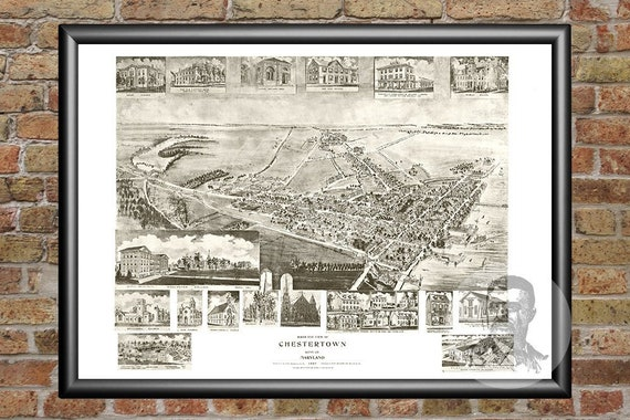 24x36 Vintage Reproduction Historic Map Baltimore Maryland 1870