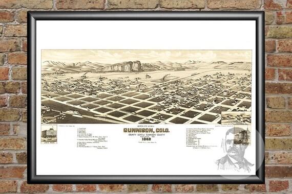 18x24 Bird/'s Eye View 1882 Trinidad Colorado Vintage Style City Map