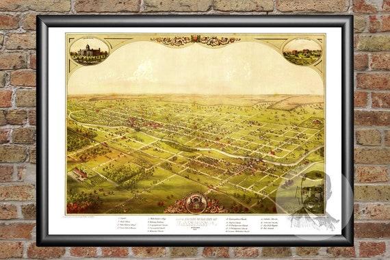 Vintage Lansing Map 1866 - Old Map of Lansing, Michigan Historical Wall Art  Print, Housewarming Gift Idea For Office
