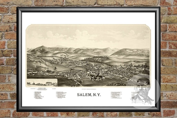 Salem New York Map.Salem Map Vintage Print From 1889 Old Salem Art Salem Etsy