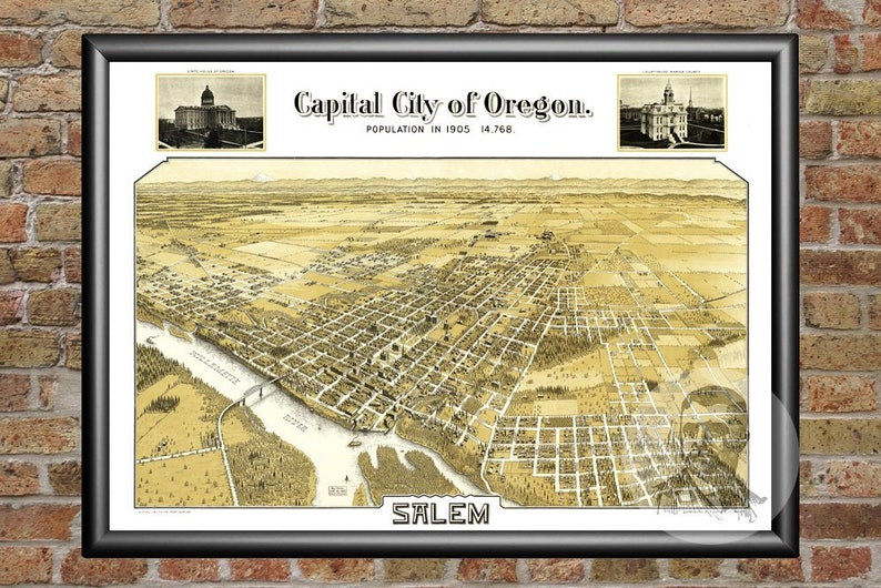 Vintage Salem Map 1905 - Old Map of Salem, Oregon Historical Wall Art  Print, Housewarming Gift Idea For Office