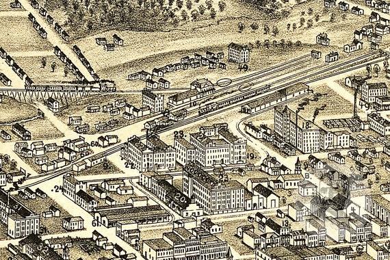 Old Salem Nc Map.Winston Salemnorth Carolina Art Print From 1891 Digitally Etsy