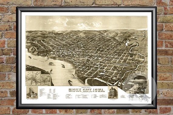 Vintage Iowa Art Old Map of Dubuque IA from 1889 Historic Decor