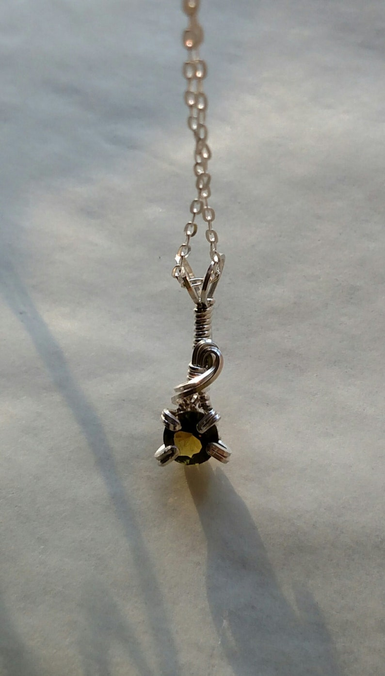 Faceted Tourmaline Wire Wrapped Sterling Silver image 0