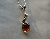 Tourmaline Cabochon Wire Wrapped Sterling Silver Pendant