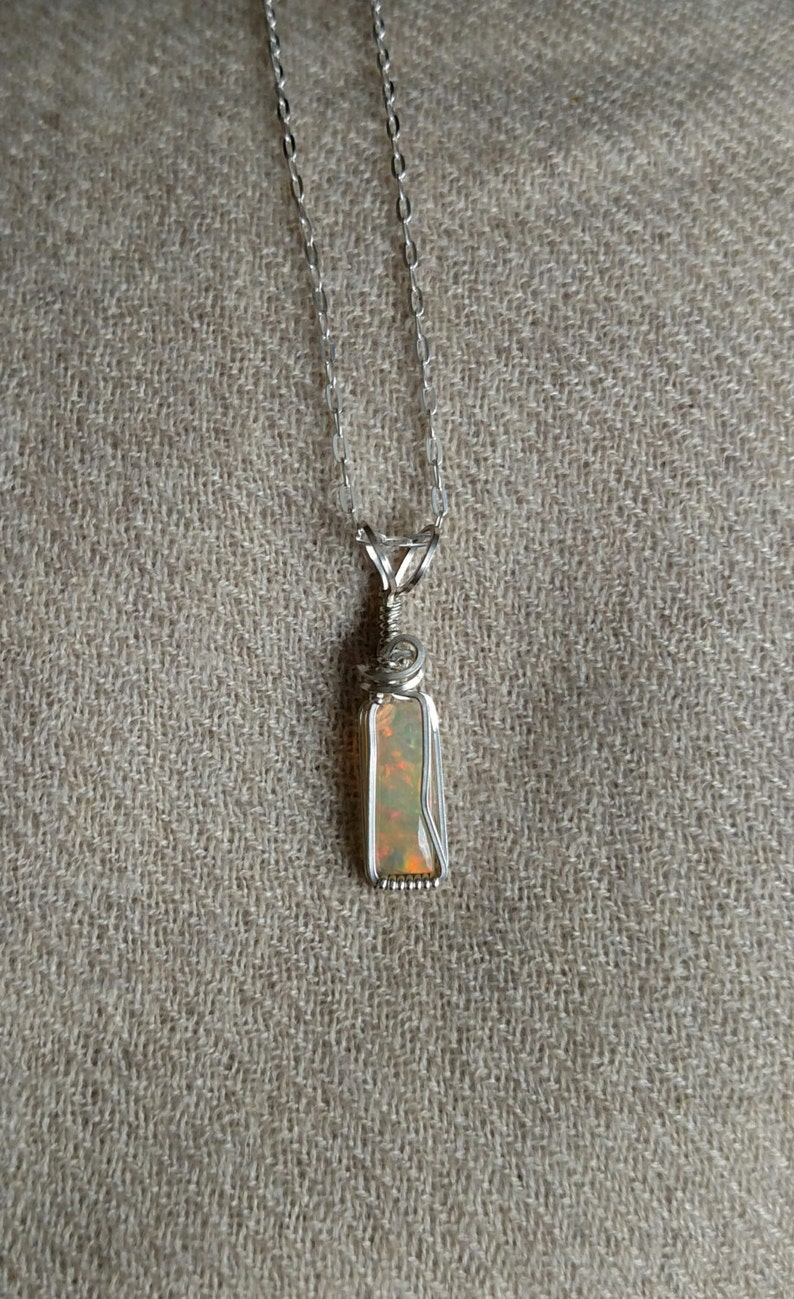 1.1 carat Opal Wire Wrapped Sterling Silver Pendant image 0