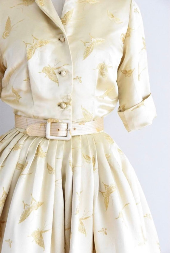 Vintage 1950's gold silk butterfly cocktail dress