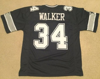 a1472e61412 Dallas Cowboys Herschel Walker UNSIGNED CUSTOM Made Blue Jersey