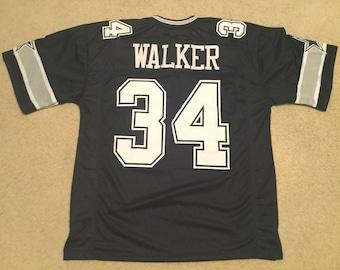 d3c520f8fdb Dallas Cowboys Herschel Walker UNSIGNED CUSTOM Made Blue Jersey