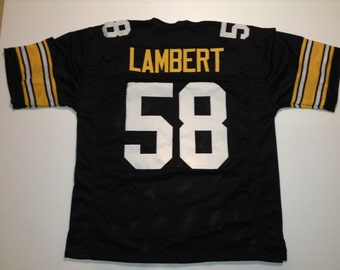 49b9685aa Pittsburgh Steelers Jack Lambert UNSIGNED CUSTOM Made Black Jersey