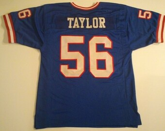 8c6f17687e4 New York Giants Lawrence Taylor UNSIGNED CUSTOM Made Blue Jersey