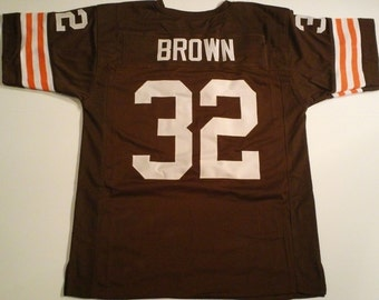 d3fef8339a7 Cleveland Browns Jim Brown UNSIGNED CUSTOM Made Brown Jersey
