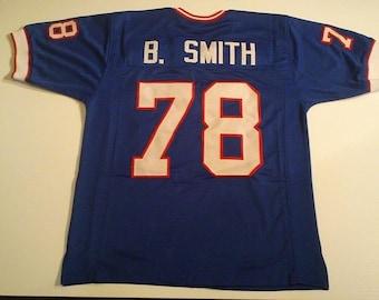 Buffalo Bills Bruce Smith UNSIGNED CUSTOM Made Blue Jersey VITXbe9st