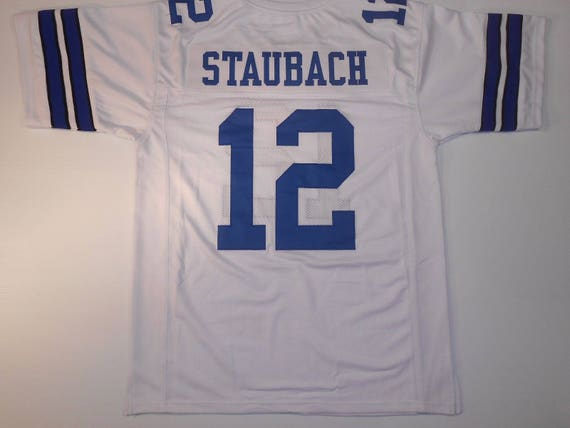 Dallas Cowboys Roger Staubach UNSIGNED CUSTOM Made Blue Jersey