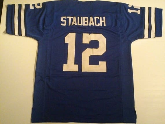 the latest b935d 4ce03 Dallas Cowboys Roger Staubach UNSIGNED CUSTOM Made Blue Jersey