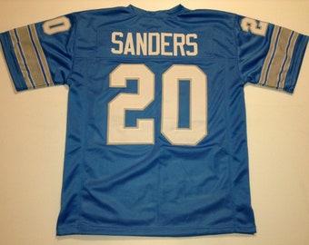 Barry Sanders Sewn Stitched UNSIGNED CUSTOM Made Blue Jersey - M, L, XL, 2XL, 3XL