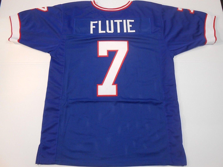 sale retailer e97fe 00519 Buffalo Bills Doug Flutie UNSIGNED CUSTOM Made Blue Jersey