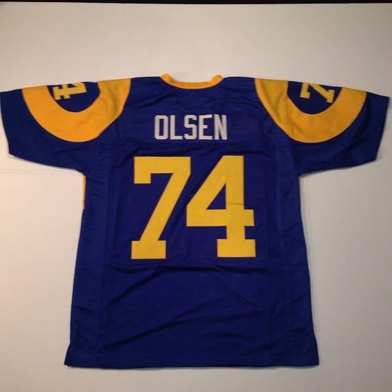 L.A. Rams Merlin Olsen UNSIGNED CUSTOM Made Blue Jersey RoKu9tUP8