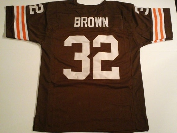 951d7cdb2 ... promo code cleveland browns jim brown unsigned custom made brown jersey  etsy bbab9 3f418