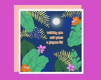 Magical Moon - Happy Eid Mubarak Card - Cute / Sweet / Ramadan / Floral / Flowers / Plants / Green