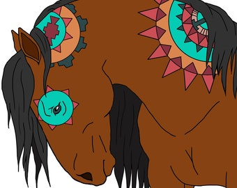 Aztec Horse Coloring Page